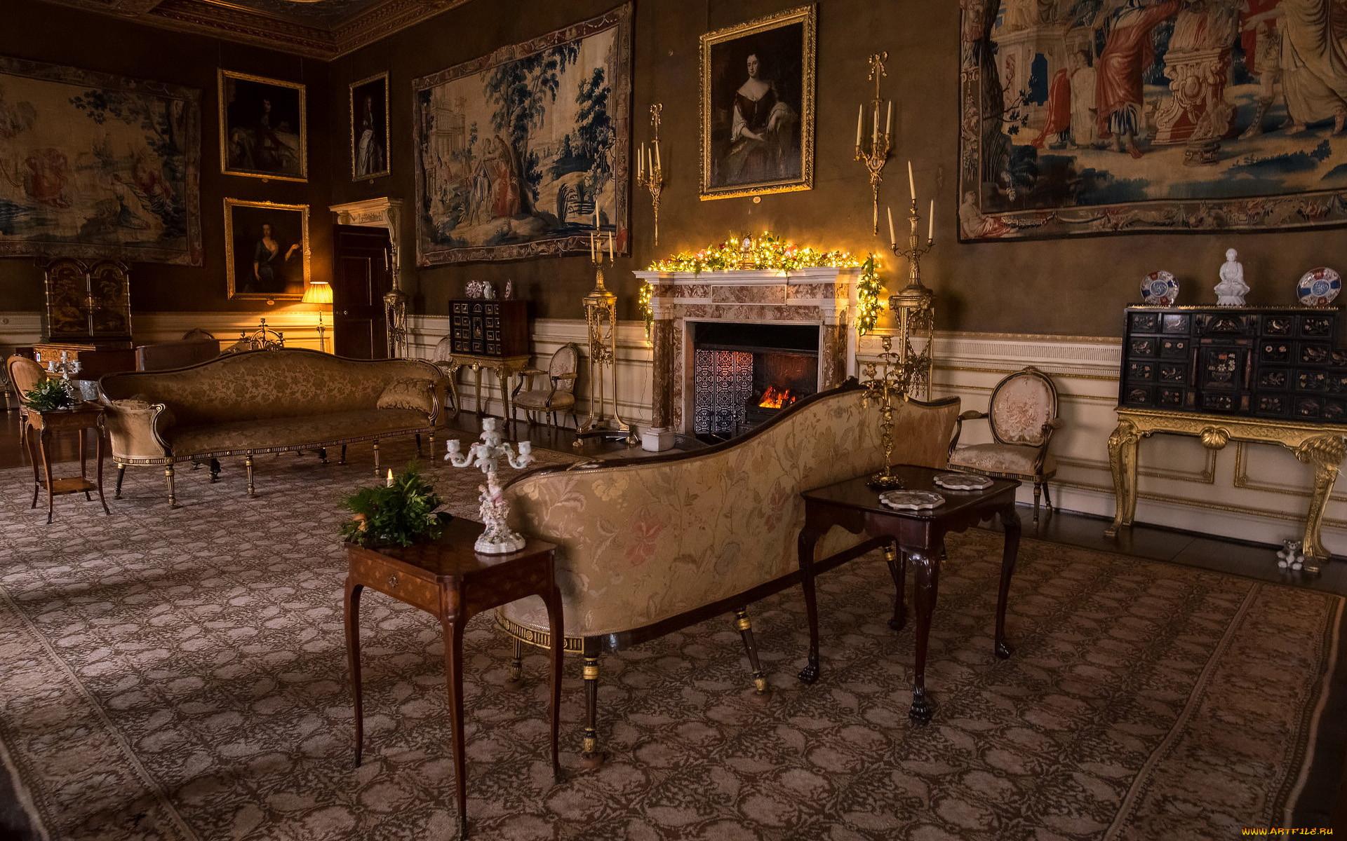 интерьер, дворцы,  музеи, свечи, камин